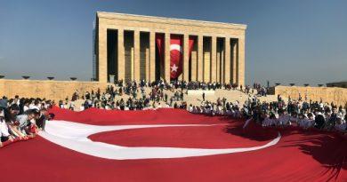 Öğrencilerden Anıtkabir'e Dev Türk Bayrağı